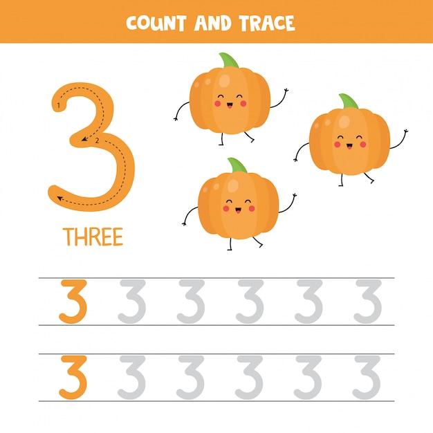 Rastreamento de planilha de números. número três, com abóboras kawaii bonito. Vetor Premium