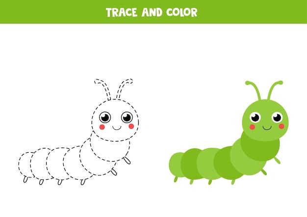 Rastrear e colorir lagarta bonita. jogo educativo para crianças. prática de caligrafia. Vetor Premium