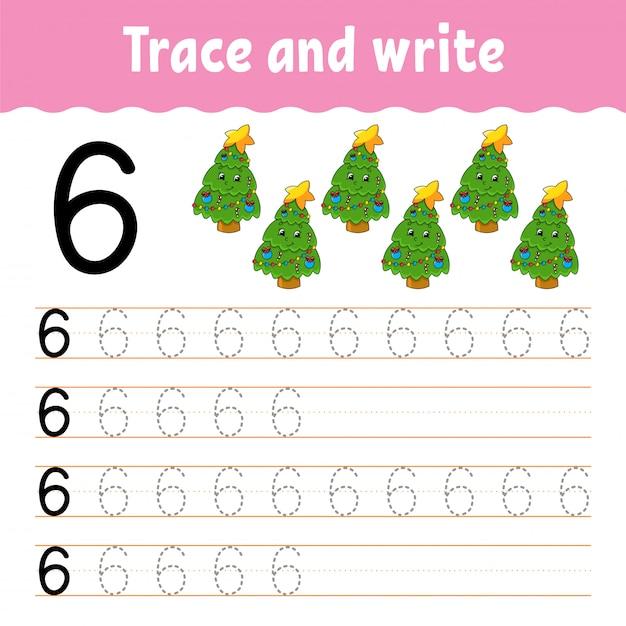 Rastrear e escrever. prática de caligrafia. aprendendo números para crianças. planilha de desenvolvimento de educação. página de atividade. Vetor Premium