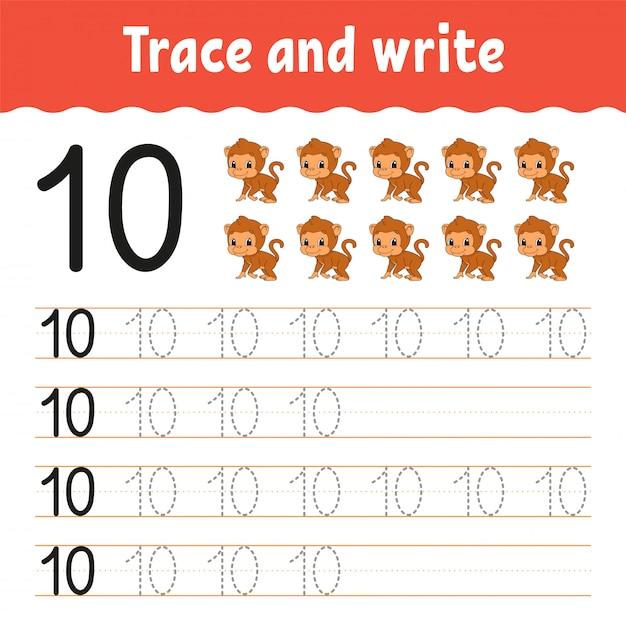 Rastrear e escrever. prática de caligrafia. aprendendo números para crianças. planilha de desenvolvimento de educação. Vetor Premium