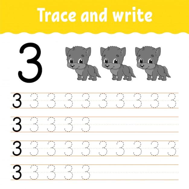 Rastrear e escrever. prática de caligrafia. aprendendo números para crianças. Vetor Premium