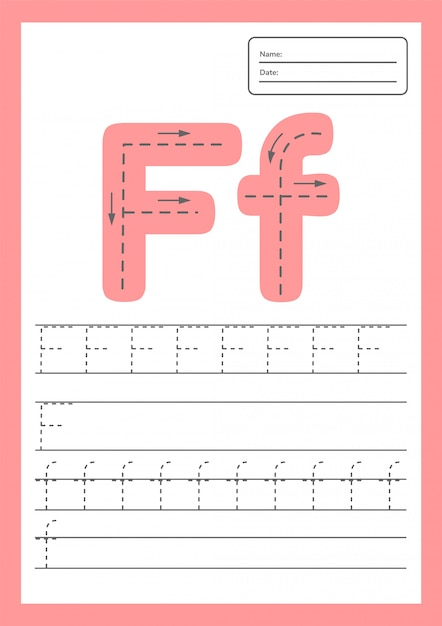 Rastrear letras planilha a4 para crianças em idade pré-escolar e escolar. Vetor Premium