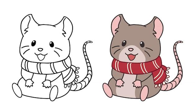 Ratinho bonitinho usando cachecol e sentado. ilustração em vetor contorno isolada no fundo branco. Vetor Premium