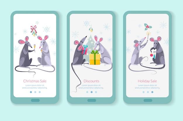 Rato animal símbolo ano novo caracteres banners verticais Vetor Premium
