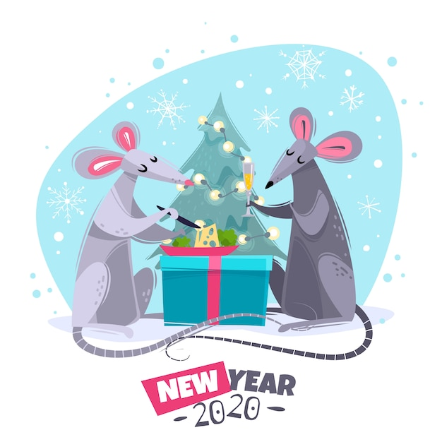 Rato animal símbolo ano novo personagens ilustração Vetor Premium