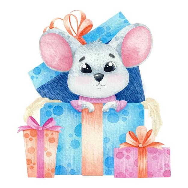 Rato bonitinho aquarela com presentes. Vetor Premium