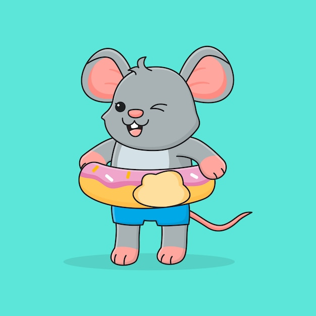 Rato bonitinho com anel de natação donut Vetor Premium
