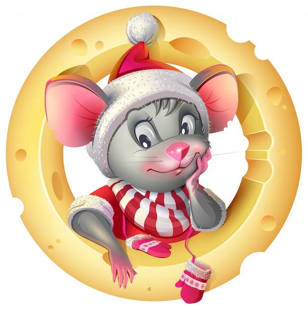 Rato bonitinho na fantasia de santa posando de queijo. símbolo de rato de rato de 2020 Vetor Premium