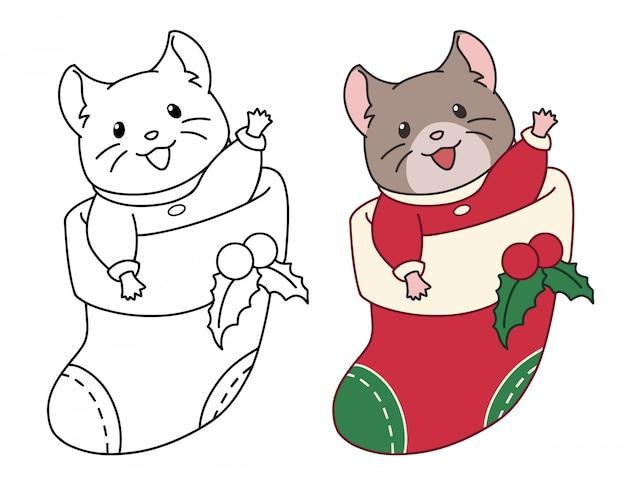 Rato bonitinho senta-se em uma meia de natal para presentes. imagens de contorno doodle para colorir livro, etiqueta, cartão postal. Vetor Premium