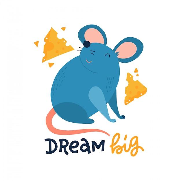 Rato bonito com fatias de queijo isoladas no fundo branco. letras manuscritas - grande sonho. Vetor Premium
