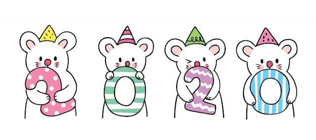 Rato bonito dos desenhos animados ano novo. Vetor Premium