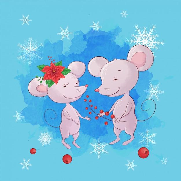 Rato bonito dos desenhos animados menino e menina. cartão de felicitações para o ano novo e o natal. Vetor Premium