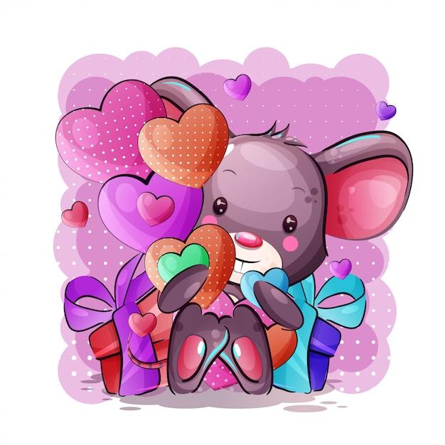 Rato de bebê bonito dos desenhos animados com corações e caixa de presente Vetor Premium