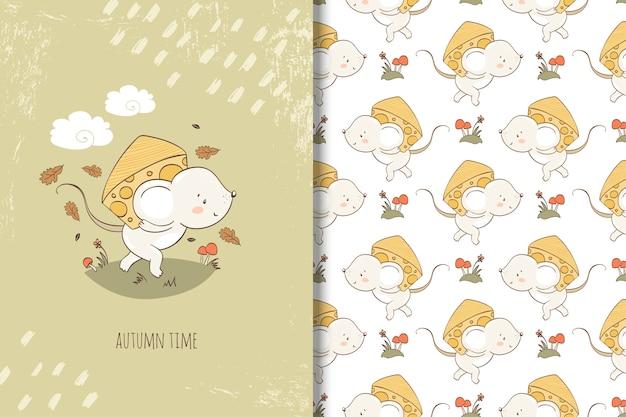Rato dos desenhos animados com pedaço de ilustração de queijo. cartão e padrão sem emenda Vetor Premium