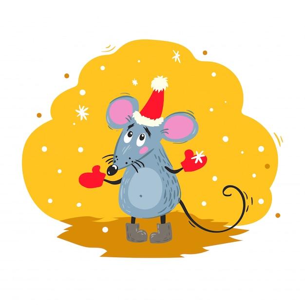 Rato engraçado dos desenhos animados com chapéu de papai noel parece flocos de neve. símbolo chinês do ano 2020. mascote em quadrinhos. personagem de rato ou mouse. animal roedor. Vetor Premium