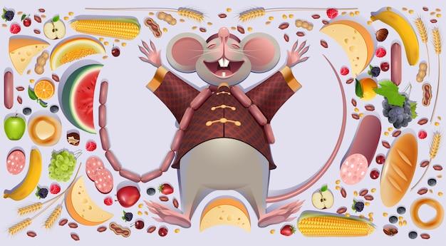 Rato gordo rato é descanso espalhando patas. Vetor Premium