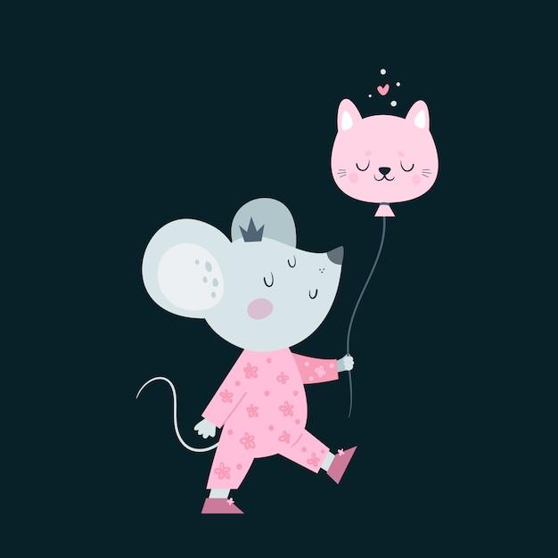 Rato pequeno bonito dos ratos do bebê com ballon. Vetor Premium