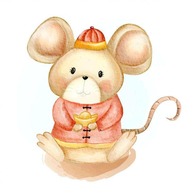 Rato pequeno bonito ilustração aquarela feliz ano novo chinês Vetor Premium