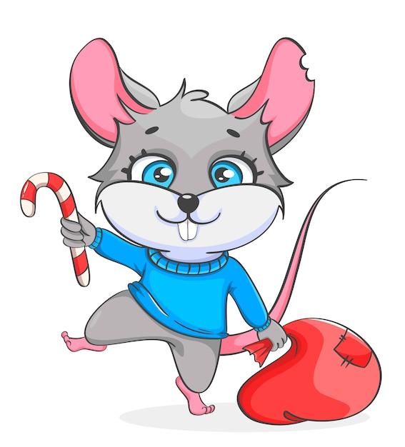 Rato segurando o saco com presentes e pirulito Vetor Premium