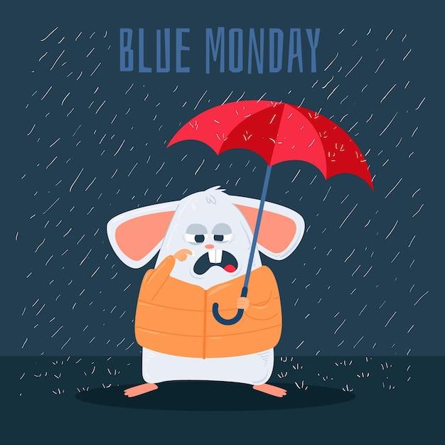 Rato triste na segunda-feira azul Vetor grátis