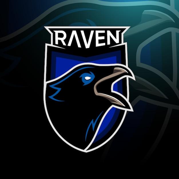 Raven head logo esport Vetor Premium