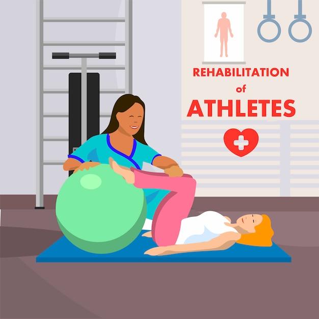 Reabilitação de atletas em anúncios do centro convalescente Vetor Premium