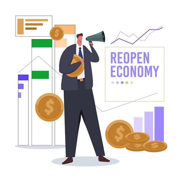 Reabrir a economia após o coronavírus Vetor grátis