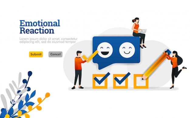 Reação emocional para usuários e desenvolvedores de aplicativos. ilustração vetorial de marketing e publicidade Vetor Premium