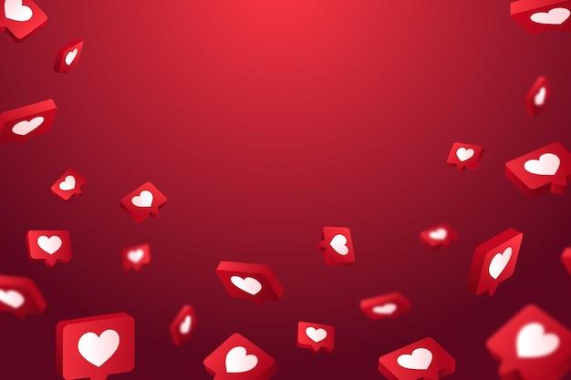 Reações de amor com papel de parede de espaço vazio Vetor grátis