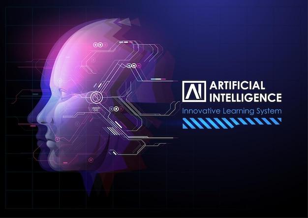Realce de robô ou cabeça humana. Vetor Premium