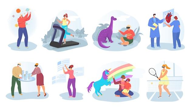 Realidade virtual, conceito de vr, conjunto de ilustrações. jovens usando óculos de realidade aumentada para jogar simulação de videogame e vr. entretenimento visual 3d, equipamento, inovação em vídeo. Vetor Premium