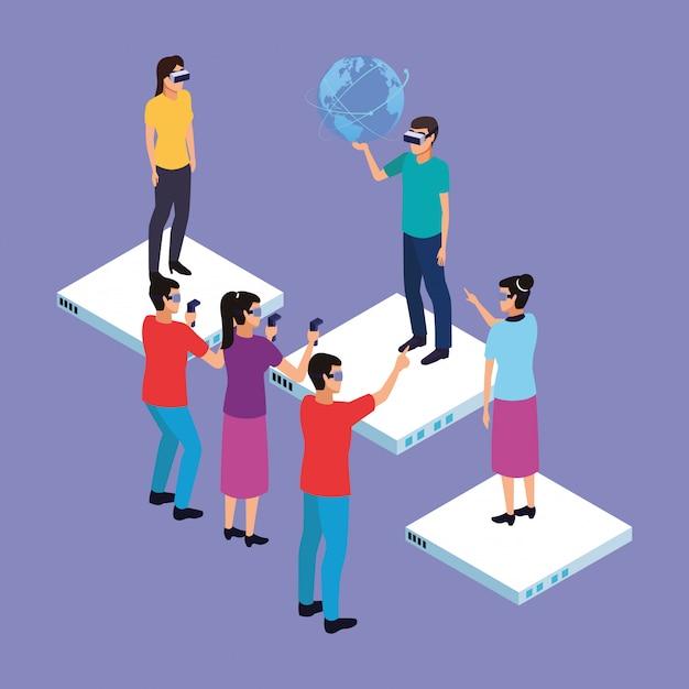 Realidade virtual e desenhos de amigos Vetor grátis