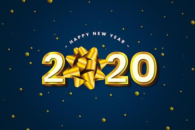 Realista 2020 ano novo com elegante laço de fita Vetor grátis