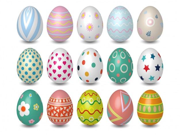 Realista 3d colorido ovos de páscoa textura diferente, padrão no fundo branco Vetor Premium