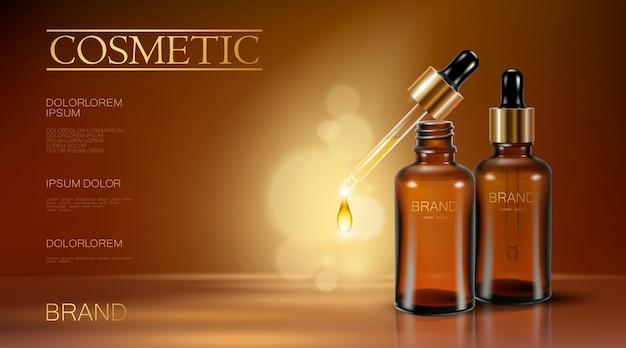 Realista 3d essência garrafa cosméticos anúncio pipeta caindo gota de óleo Vetor Premium