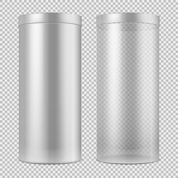 Realista 3d frasco de vidro transparente e vazio e branco pode com tampa. pacote para comida, biscoitos e presentes isolados Vetor Premium