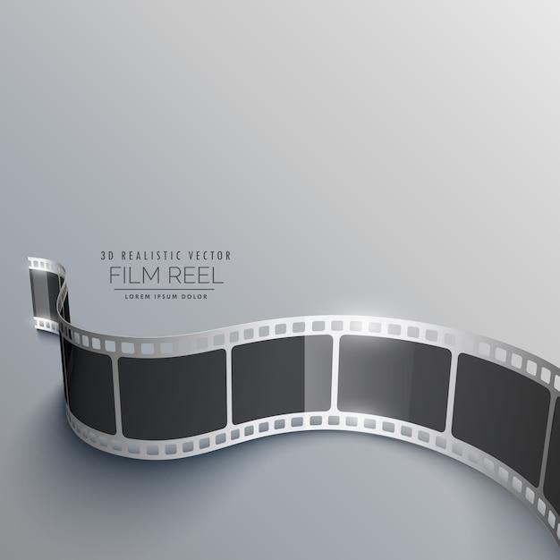 Realista, 3d, película, faixa, fundo, perspectiva Vetor grátis