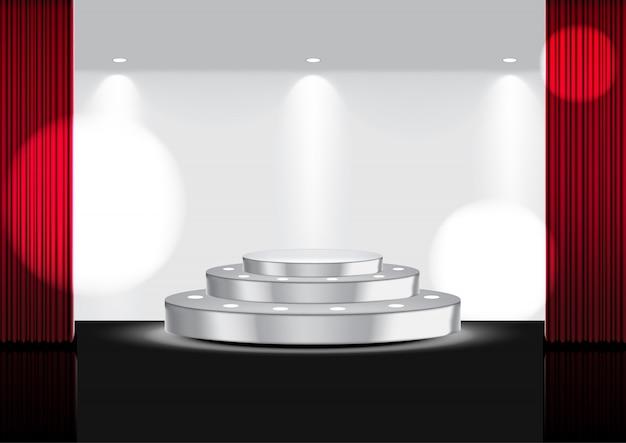 Realista aberta cortina vermelha no palco metálico ou cinema Vetor Premium