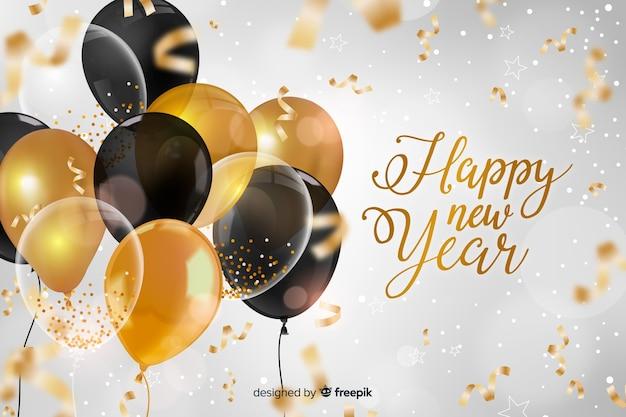 Realista ano novo 2020 com balões Vetor grátis