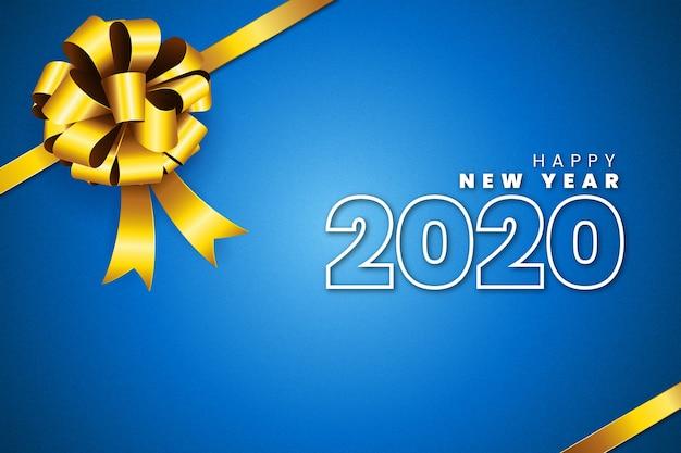 Realista ano novo 2020 fundo com laço de presente dourado Vetor grátis