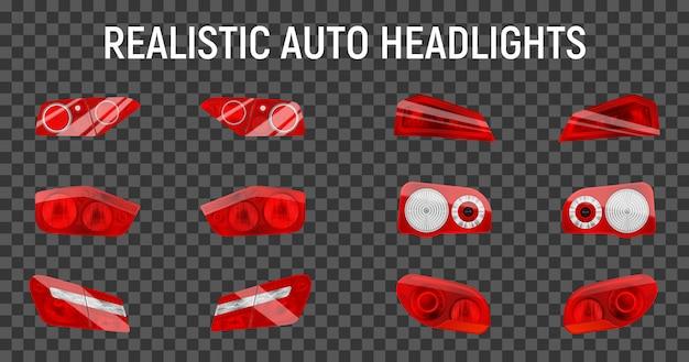 Realista auto back stop faróis conjunto com doze luzes isoladas de freio e marcador na ilustração de fundo transparente Vetor grátis
