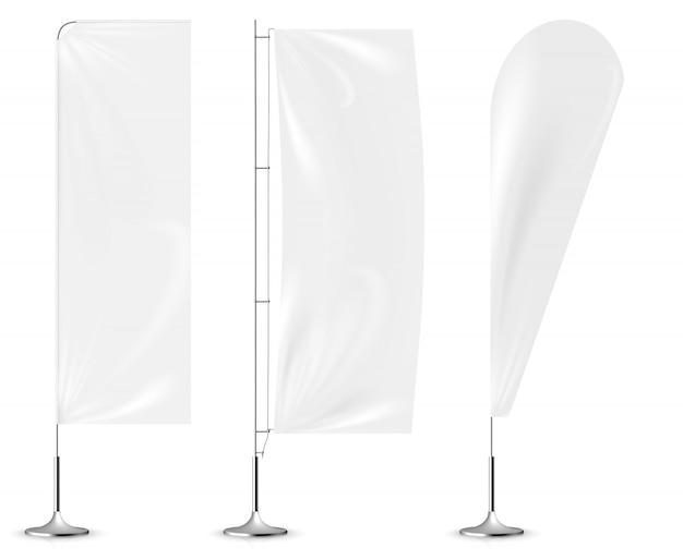 Realista bandeira branca bandeiras maquete 3d. Vetor Premium