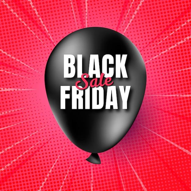 Realista black friday banner com balão Vetor grátis