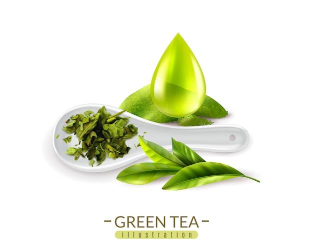 Realista chá verde e colher e soltar ilustração vetorial Vetor grátis