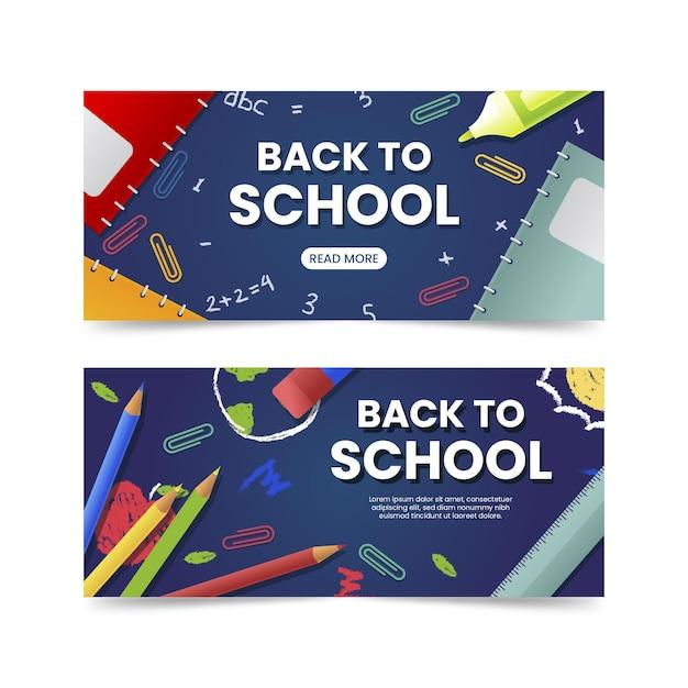 Realista de volta à coleção de banners de escola Vetor grátis