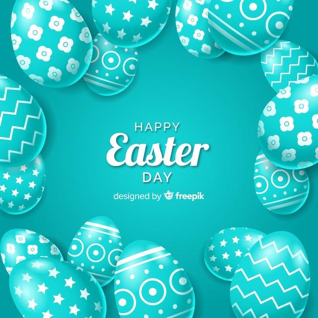 Realista decorado fundo de ovos de páscoa Vetor grátis