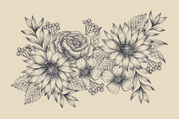 Realista mão desenhada buquê floral vintage Vetor grátis