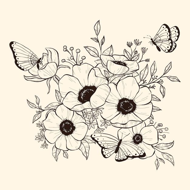 Realista mão desenhada buquê floral Vetor grátis