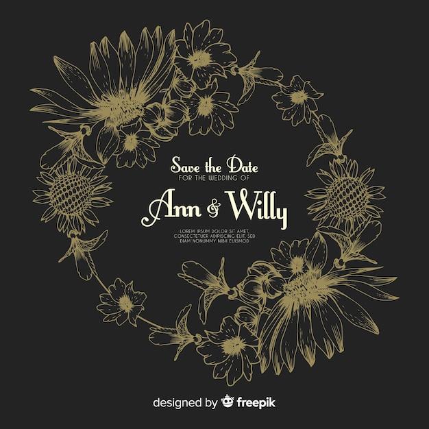 Realista mão desenhada flores convite de casamento em preto Vetor grátis