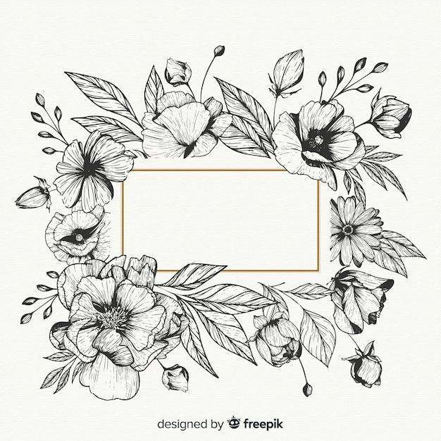 Realista mão desenhadas flores com banner em branco Vetor grátis